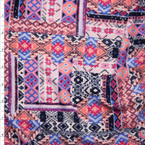 Pink, Coral, and Purple Southwestern Patchwork Double Brushed Poly Spandex Fabric By The Yard