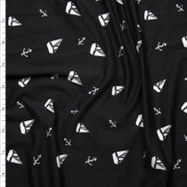 White Sails and Anchors on Black Double Brushed Poly Spandex Fabric By The Yard
