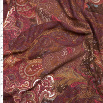 Wine and Brown Paisley Print Double Brushed Poly Spandex Fabric By The Yard