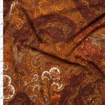 Rust and Brown Paisley Print Double Brushed Poly Spandex Fabric By The Yard