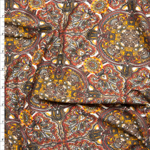 Brown, Red, Orange, and Offwhite Ornate Medallion Double Brushed Poly Spandex Fabric By The Yard