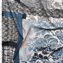 Blue and Ivory Designer Patchwork Double Brushed Poly Spandex  Fabric By The Yard