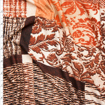 Rust and Ivory Designer Patchwork Double Brushed Poly Spandex  Fabric By The Yard