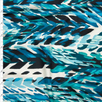 Aqua and Teal Layered Paint Daub Print Double Brushed Poly Spandex Fabric By The Yard