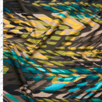 Aqua, Brown, and Yellow Layered Paint Daub Print Double Brushed Poly Spandex Fabric By The Yard