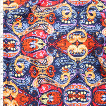 Vibrant Red, Navy, Yellow, and Tan Paisley Print Liverpool Knit Fabric By The Yard