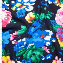 Bright Blue, Pink, and Yellow Floral on Dark Midnight Liverpool Knit Fabric By The Yard