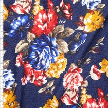 Red, Gold, and Blue Rose Floral on Navy Blue Liverpool Knit Fabric By The Yard