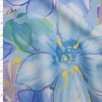 Baby Blue and Lilac Large Watercolor Floral Techno Knit Fabric By The Yard