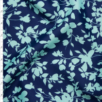 Aqua and Navy Leaves and Flowers Silhouette Techno Knit Fabric By The Yard