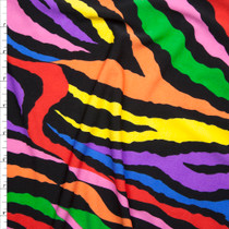 Rainbow Zebra Print Stretch Poly Jersey Knit Fabric By The Yard