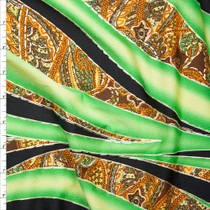 Green, Black, Brown, and Metallic Gold Swirl and Paisley Print Fabric By The Yard
