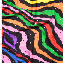 Sequined Rainbow Zebra Print Stretch Poly Jersey Knit Fabric By The Yard