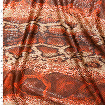 Rust and Tan Snakeskin Print With Scale Gloss Overlay Fabric By The Yard
