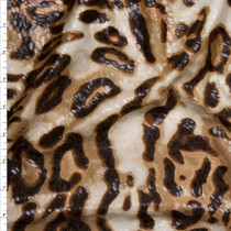 Brown, and Tan Leopard Print Poly Knit with Gloss Overlay Fabric By The Yard
