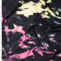 Pink, Yellow, Mint, and Black Grunge Tie Dye Look Stretch Rayon Jersey Fabric By The Yard