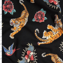 Tattoo Style Tigers, Hearts, and Roses on Black Stretch Midweight Cotton Jersey Fabric By The Yard
