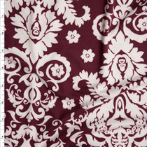 Offwhite on Wine Damask Print Double Brushed Poly/Spandex Fabric By The Yard