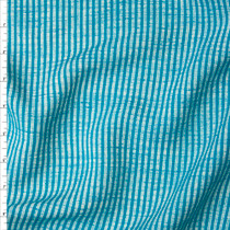 Turquoise and White Grunge Stripe Soft Rayon/Linen Blend Fabric By The Yard