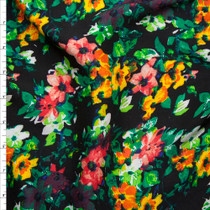 Pink, Yellow, and Green Floral on Black Rayon Challis Print Fabric By The Yard
