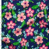 Pink and Bright Green Floral on Royal Blue Rayon Challis Fabric By The Yard