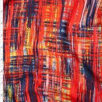 Red, Blue, and Yellow Grunge Lined Pattern Rayon Challis Fabric By The Yard