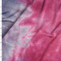 Red and Charcoal Tie Dye Stretch Rayon Jersey Knit Fabric By The Yard