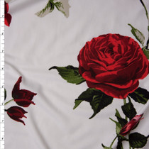 Deep Red Roses on Offwhite Double Brushed Poly Spandex Fabric By The Yard
