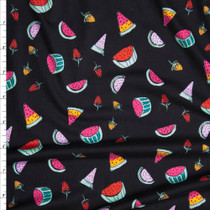 Vibrant Hand Drawn Summer Fruit on Black Double Brushed Poly Spandex Fabric By The Yard