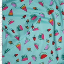 Vibrant Hand Drawn Summer Fruit on Aqua Double Brushed Poly Spandex Fabric By The Yard