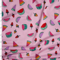 Vibrant Hand Drawn Summer Fruit on Pink Double Brushed Poly Spandex Fabric By The Yard