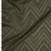 Olive Green Burnout Chevron Pattern Soft Rayon Sweater Knit Fabric By The Yard