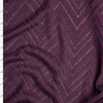 Plum Burnout Chevron Pattern Soft Rayon Sweater Knit Fabric By The Yard