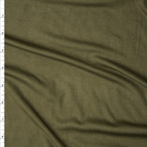 Olive Green Modal/Lycra Stretch Micro Rib Knit Fabric By The Yard