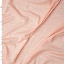 Soft Peach Slubbed Rayon Jersey Knit Fabric By The Yard