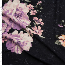 Grunge Pink and Lavender Floral on Black Double Brushed Poly Spandex Knit Fabric By The Yard
