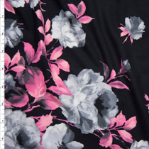 Greyscale with Neon Pink Rose Floral on Black Double Brushed Poly Spandex Knit Fabric By The Yard