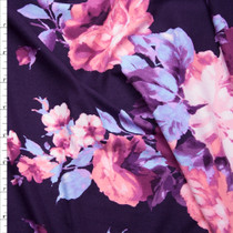 Pink and Violet Rose Floral on Plum Double Brushed Poly Spandex Knit Fabric By The Yard