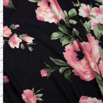 Pink and Sage Rose Floral on Black Double Brushed Poly Spandex Knit Fabric By The Yard
