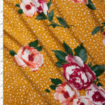 Hot Pink and Orange Roses on White Dotted Mustard Double Brushed Poly Spandex Knit Fabric By The Yard