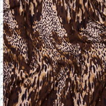 Chocolate Brown and Tan Mixed Animal Print Double Brushed Poly Spandex Knit Fabric By The Yard