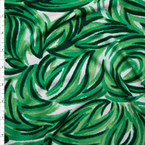 Green Layered Chalk Leaves on White Double Brushed Poly Spandex Knit Fabric By The Yard