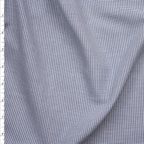 Navy Blue and White Mini Gingham Check Fine Cotton Voile Fabric By The Yard