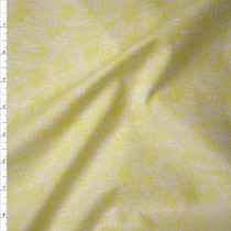Bright Yellow Green on White 'Friedlander' Cotton Lawn by Robert Kaufman Fabric By The Yard