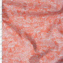 Red Orange on Pale Grey 'Friedlander' Cotton Lawn by Robert Kaufman Fabric By The Yard