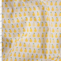 Yellow Pears on White 'London Calling' Cotton Lawn by Robert Kaufman Fabric By The Yard