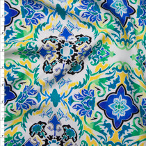 Vibrant Blue, Green and Yellow Scrollwork Rayon Challis Print Fabric By The Yard