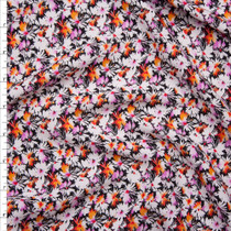 White, Pink, and Orange Mini Daisy Floral on Black Rayon Challis Fabric By The Yard