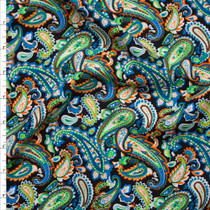 Lime, Blue, and Orange Paisleys on Black Rayon Challis Fabric By The Yard