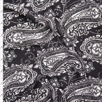 White Paisleys on Black Rayon Gauze Fabric By The Yard